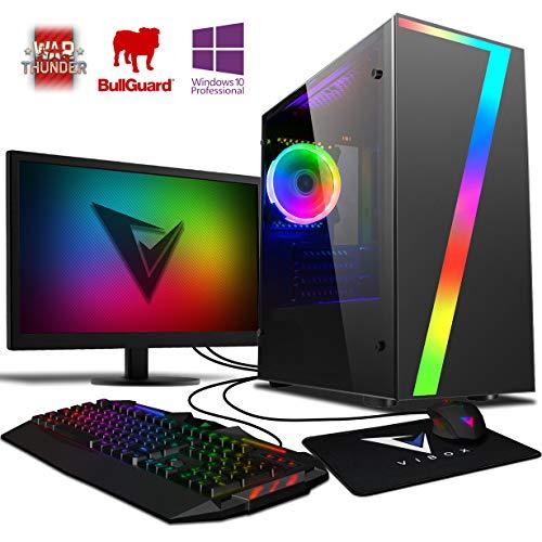 VIBOX Killstreak GS550T-80 Gaming PC Computer mit Spiel Bundle, Win 10 Pro, 22 Zoll HD Monitor (3,7GHz Ryzen Quad-Core, Nvidia GeForce GTX 1050 Ti Grafikkarte, 8Go DDR4 RAM, 120GB SSD, 2TB HDD)