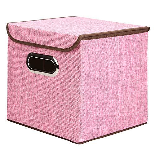 DESTDOU Baumwolle und Leinen Aufbewahrungsbox Edelstahl tragbare Kleidung Aufbewahrungsbox Bürobedarf Datei Aufbewahrungsbox Tragbare und ordentliche Aufbewahrungsbox (Leinen-datei-ordner)