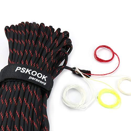 550 Paracord Überleben Cord Paracord Fire Cord Survival Feuerstarter Cord Gewachst Jute Zunder +Angelschnur 7(100% Nylon Seil )+4 (Zunder, PE, Nylon, Baumwollschnur) - 30M (Schwarz Rot Streifen) -