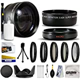 10 Piece Ultimate Lens Package For The Nikon D100 D200 D300 D300S D700 D7000 D7100 D3000 D3100 D3200 D5000 D5100 D5200 D5300 D40 D40X D50 D60 D70 D90 D80 Includes .43x High Definition II Wide Angle Panoramic Macro Fisheye Lens + 2.2x Extreme High Definiti