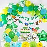 Yansion 35 Pezzi Dinosauro Compleanno Festa Palloncini Decorazione per Le Feste per Bambini,Dinosauro Happy Birthday Banner Pom Poms Fiori Tattoo Sticker Favors per Bambini Ragazzi