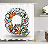 Letter Q Shower Curtain, Typographic Letter Font Design with Various Gaming Balls Athletic Kids Teamplay, Fabric Bathroom Decor Set with Hooks, 60x72 Inches, Multicolor