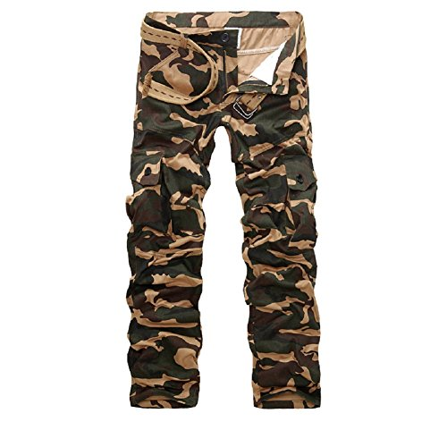 AYG Herren Camouflage Hose Cargo Hosen Combat Trousers(yellow camo,30)