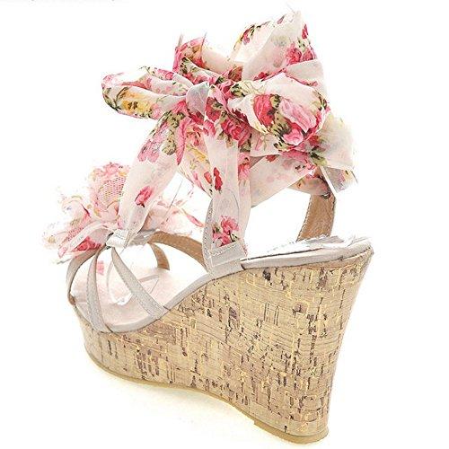 RizaBina Femmes Boheme Lacets Compensees Plateforme Sandales Strappy Sandales De Fleur Beige