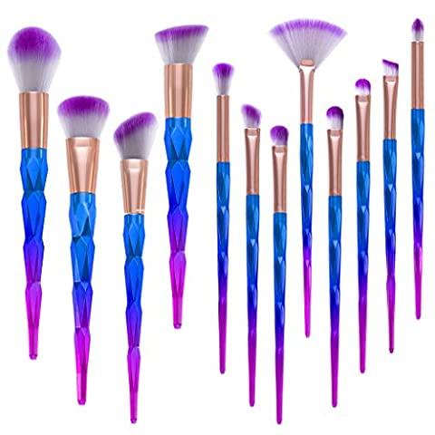 Vovotrade 12Pcs Pro Make-up Kosmetik Pinsel Set Powder Foundation Lidschatten Lippen Pinsel