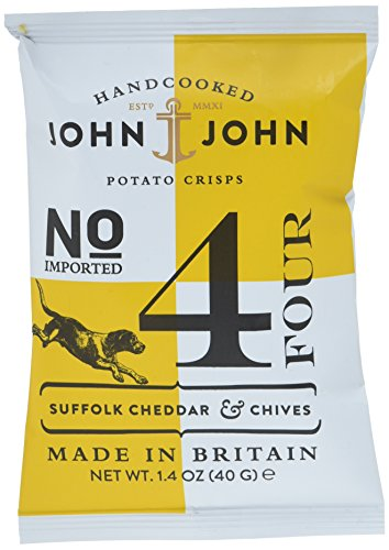 Preisvergleich Produktbild John & John Potato Crisps Suffolk Cheddar & Chives 40g,  12er Pack (12x 40 g)