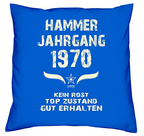 Soreso Design Geschenk zum 49 Geburtstag für Frauen Männer - Kissen mit Füllung Hammer Jahrgang 1970 Farbe: royal-blau - Geschenkidee Set + Urkunde