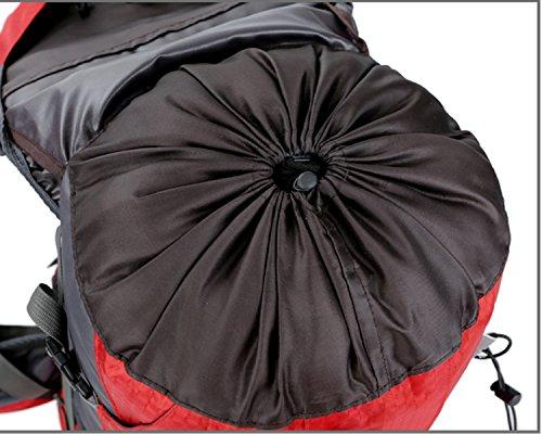 Jaime Lavie 60L zaino tattico zaino outdoor sport zaino trekking zaino escursionismo zaino zaino con pioggia tappo di protezione, nero Rot