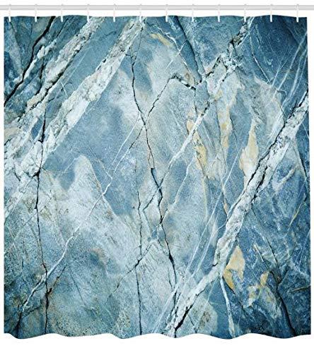 ABAKUHAUS Marmor Duschvorhang, GranitStein Kunst, Wasser Blickdicht inkl.12 Ringe Langhaltig Bakterie und Schimmel Resistent, 175 x 200 cm, HellBlaues grau -