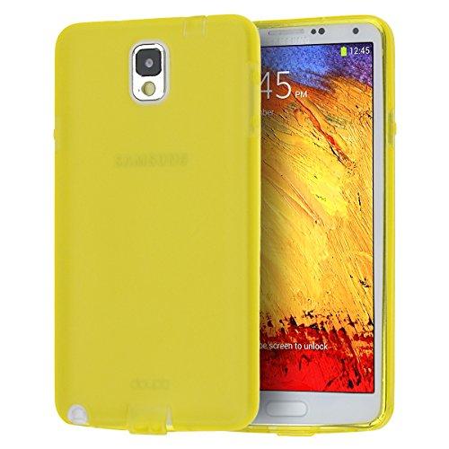 doupi PerfectFit TPU Custodia per Samsung Galaxy Note 3, Tappi di Polvere incorporatin Mat Trasparente Cover, Giallo