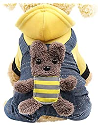 Ropa para Mascotas Gusspower Algodón Sudadera con Capucha Estampado Forma de Perro suéter Perrito Ropa de Invierno Abrigo Espesar
