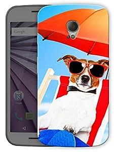 "Humor Gang Dog Beach Life Printed Designer Mobile Back Cover For ""Motorola Moto G2"" (3D, Matte Finish, Premium Quality, Protective Snap On Slim Hard Phone Case, Multi Color)"