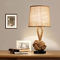 Lámpara de mesita de noche Lámpara de escritorio creativa de personalidad retro Lámpara de tela de lino Lámpara de mesa pequeña decorativa Dormitorio de café