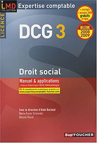 Droit social Licence DCG3 : Manuel et applications (Ancienne Edition)