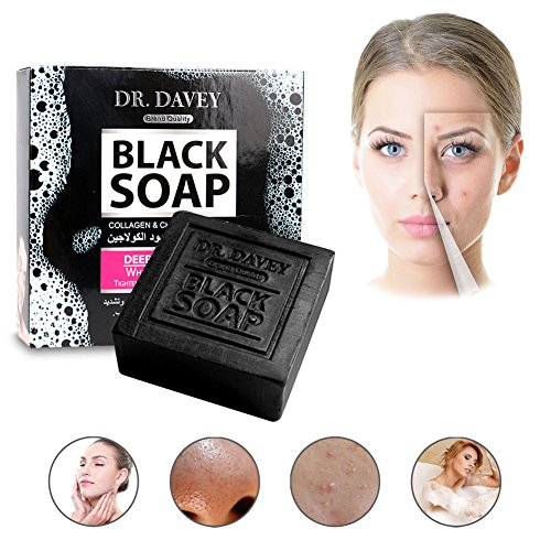 Black Oil Soap Wokaar Organic Soap Collagen and Charcoal Works to Remove Blackheads Acne,Tighten Pores 100g (Black)
