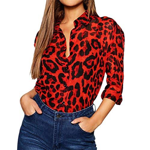 STRIR Blusa Mujer Camisetas Estampado De Leopardo BotóN Camisa Mujer Manga Larga Botones Cuello Ropa Mujer Primavera Verano 2019 (XL, Rojo)
