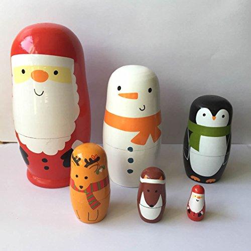 """Veewon Weihnachtsschachtel Puppen handgemachte hölzerne nette Matroschka russische Puppe Weihnachtsmann Schneemann Weihnachtsgeschenk 6 """"- 6pcs"""