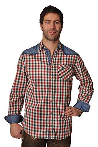 Trachtenhemd Franz tanne/rot langarm Lekra