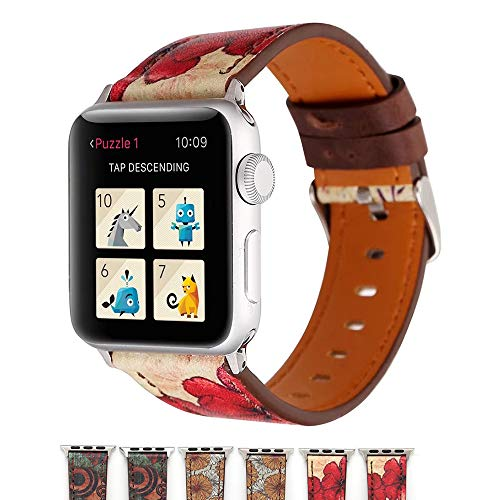 HACKK Apple Watch Strap Retro Style Flower Genuine Leather Replacement Band,Compatible with...