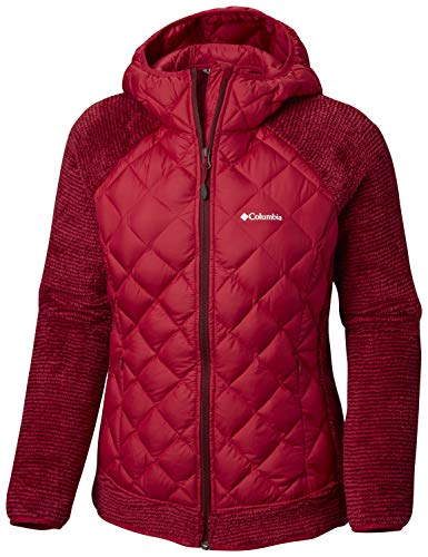 Fleece-ski-jacke (Columbia Jacke für Damen, Techy Hybrid Fleece, Polyester, Rot (Pomegranate/Rich Wine Stripe), Gr. L, 1748421)