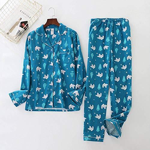 LYQZTM Niedliche Gedruckte Marine Bär Pyjamas Frauen Gebürstet Baumwolle Langarm Stretch Taille Hosen Pyjamas Herbst Und Winter Pyjamas (Pyjama Hose Baumwolle Gebürstete)