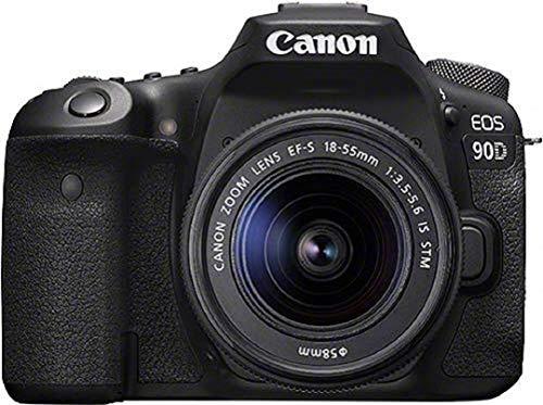 Canon EOS 90D Spiegelreflexkamera (32,5 MP, 7,7 cm (3 Zoll) Vari-Angle Touch LCD Display, APS-C Sensor, 4K, Full-HD, WLAN, Bluetooth) Gehäuse mit Objektiv EF-S 18-55mm F/3.5-5.6 IS STM schwarz