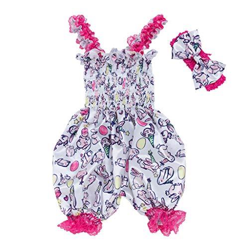 Ostern Baby Zweiteiler Set,Kinder Kostüm Mädchen Kleidung Kleinkind Cartoon Animal Print Laterne Sling Overall+Haargurt Strampler Bodysuit Stirnband Set Outfit ()