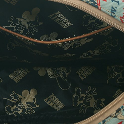 ililily Disney Mickey Mouse Pattern Vintage Casual Square Small Shoulder Bag Brown