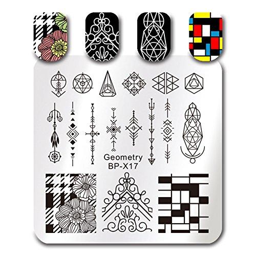 Born Pretty quadratische Nail Art Stempel Vorlage Geometrie Figur Design Bild Platte BP-X17