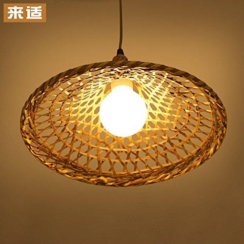 KANG@ Restaurant Minimaliste Bambou Tissés Led Lustre Rotin Chapeau De Paille 34Cm Les Ampoules 3W