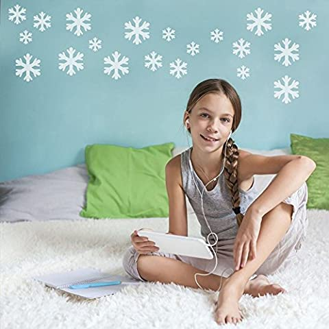 Supertogether Large White Snow Flake Wall Stickers - Frozen Bedroom Theme Decals (Set of 36)