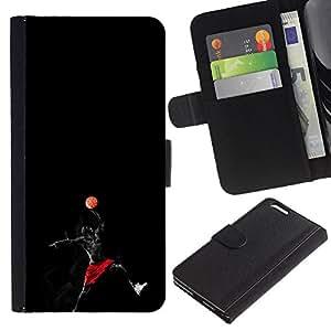 Superhero Joueur de basket - Credit Card Slots PU Wallet Pouch Housse de protection Skin Cas Case Coque Pour Apple Iphone 6 PLUS 5.5