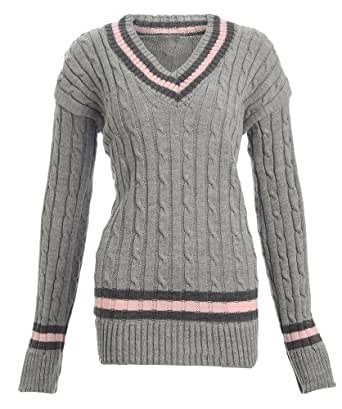 Womens Chunky Cable Knitted Ladies Cricket Jumper / Size 8-14 - £14.99 (One Size - Fits UK(8-14), Grey)
