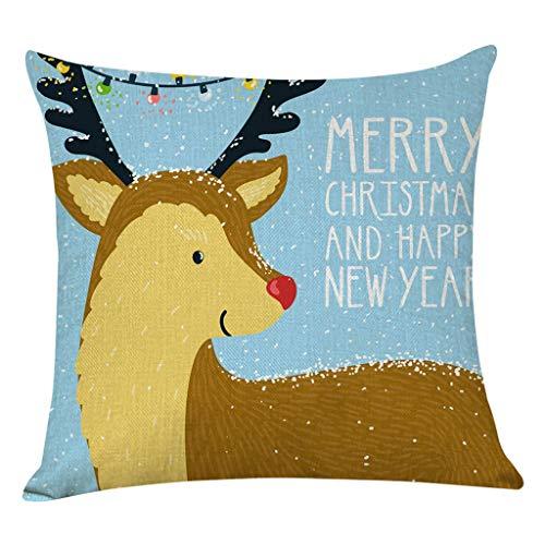 Ziyou Home Decor Cushion Set Merry Christmas Pillow Case Sofa Elk Print Soft Throw Pillow Case(45cm x 45cm, Mehrfarbig D) -