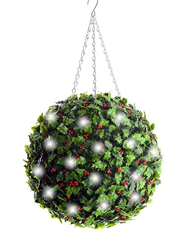 Best Artificial (TM de Noël Holly topiaire Balles et Blanc Lumineux Rechargeable Lampes LED 36 cm Green