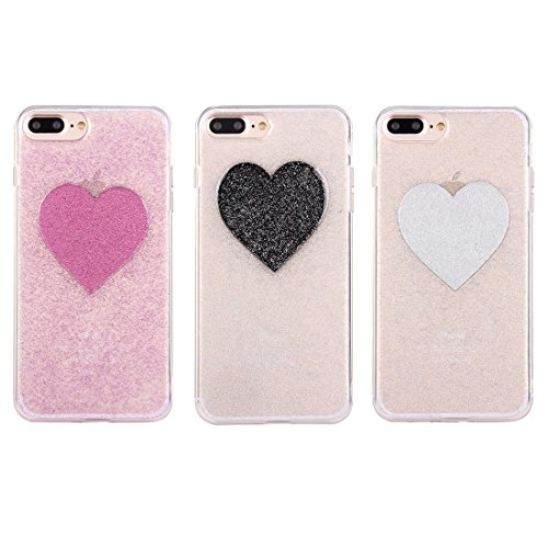 YAN Pour iPhone 7 Plus Glitter Powder Heart Pattern Housse de protection arrière TPU Soft ( Color : Silver ) Black