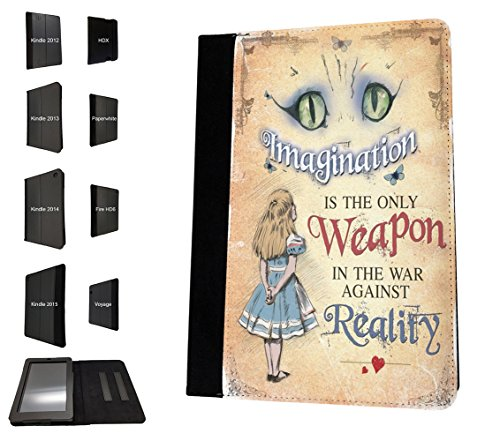 Case Fire 2012 Kindle 7 Hd (003040 - Whimsical Alice Cheshire Cat Imagination Weapon Reality Quote Design Amazon Kindle Fire HD 7'' 1st Generation-2012 TPU Leder Brieftasche Hülle Flip Cover Book Wallet Stand halter Case)