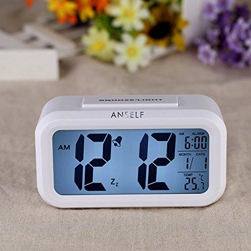 Led digital alarma despertador reloj repeticion activada por luz snooze sensor de luz tiempo fecha temperatura