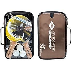 Donic-Schildkröt Premium Set con Raquetas de tenis de mesa Persson 500(2 raquetas y 3 pelotas, Funda), 788490