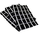 Towelsdirect Portland, canovaccio egiziano a quadrettoni, 50 cm x 70 cm, colore nero/bianco