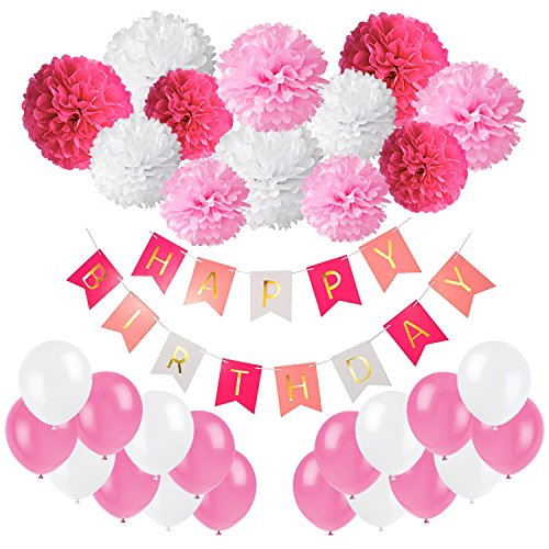 Recosis Geburtstag Party Dekoration Happy Birthday Wimpelkette Banner Girlande mit Seidenpapier Pompoms und Luftballons für Mädchen und Jungen Jeden Alters, Papier, Rosa, Pink und Weiß, 30,4 x 15 x 2,8 cm