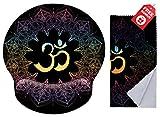 Ergonomisches Design-Mauspad mit Handgelenkauflage Runder, großer Mausbereich. Passendes Mikrofaser-Reinigungstuch für Brillen und Bildschirme. Ideal für Gaming und Arbeit., Spiritual Symbols Ohm Mandala, Round Large