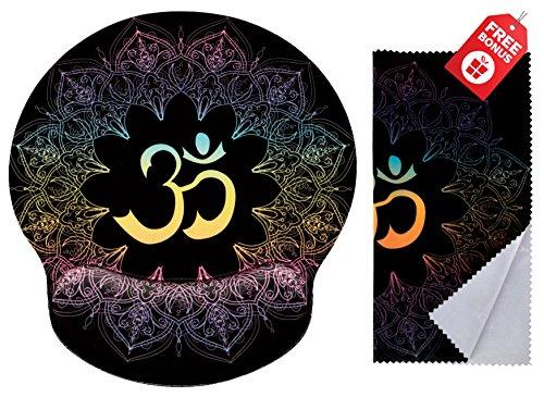 Spirituelle Symbole Ohm Mandala Print Ergonomisches Design Mauspad mit Handgelenkauflage Hand Support. Runder großer Mausbereich. Passendes Mikrofaser-ReinigungstuchGroßartig für Gaming & Arbeit
