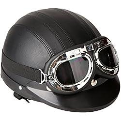 KKmoon Casque de Moto Scooter Vespa avec visière UV Lunettes Retro Style de Vintage 54-60cm Noir
