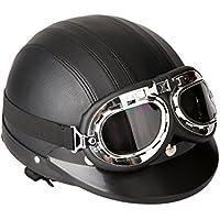 KKmoon Motorino Motociclo Casco Aperto del Fronte Mezzo Cuoio con Visiera UV Occhiali di Protezione Retro Vintage Stile 54-60cm Nero