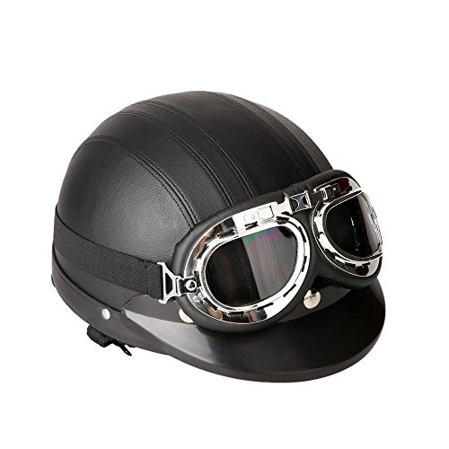 KKmoon Motorrad Scooter gesichtsoffen halbe Leder Helm mit Visier UV-Schutzbrillen Retro Vintage-Stil 54-60cm(Schwarz)