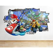 J18mundo Super Mario Bros Kart para pared Póster 3d arte pegatinas vinilo habitación (grande (90x 52cm))