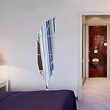 Helle Feder Wandaufkleber Spiegel, 3D Moderne Dekorative Spiegel  Entfernbare Wandkunst Für Wohnzimmer Schlafzimmer Büro Dekoration 120x30 ...