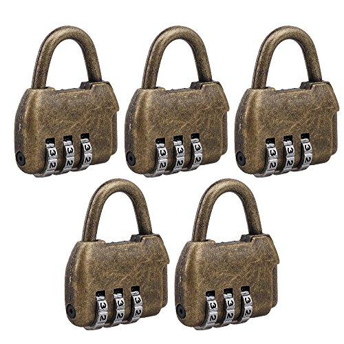 5PCS Zink Retro Reisetasche Gepäck 3-stellige Kombination Vorhängeschloss geeignet für Home Office Aufbewahrungsschränke Schließfächer Sicherheit Password Lock