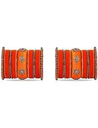 Royal Set Of 2 Velvet & Silk Thread Bangle Set By Leshya